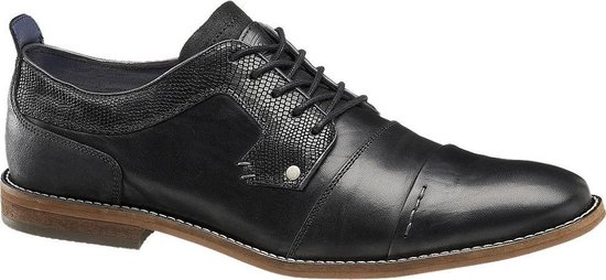 AM shoe Heren Zwarte leren geklede veterschoen - Maat 40