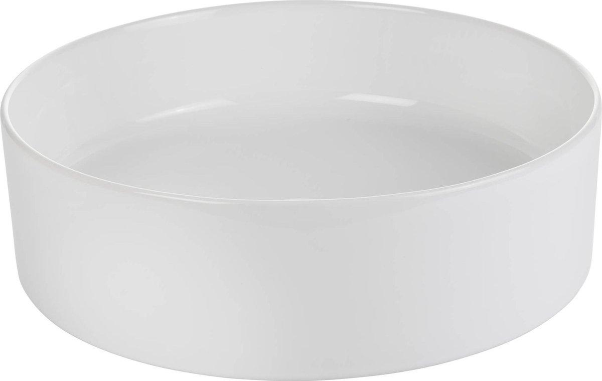 Saqu Sink Waskom Keramiek Rond 40x14,5 cm Glans Wit
