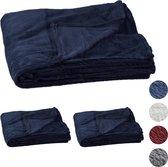 relaxdays 3 x fleece deken groot - plaid – woondeken - grand foulard 150x200 – donkerblauw