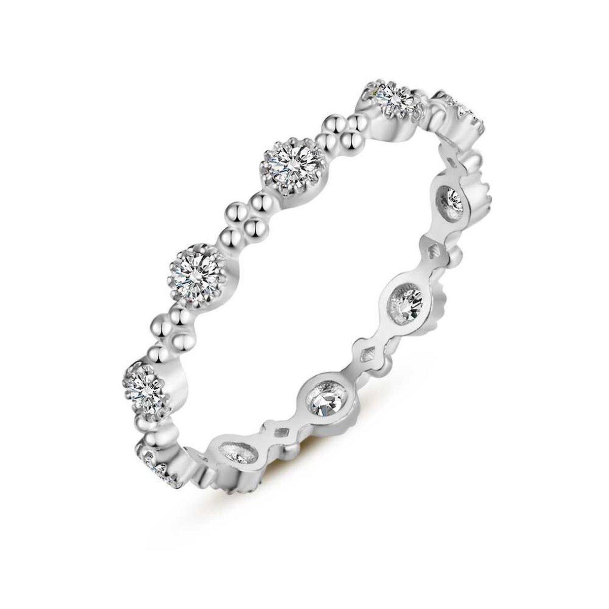 Twice As Nice Ring in zilver, witte zirkonia, 4 bolletjes  50