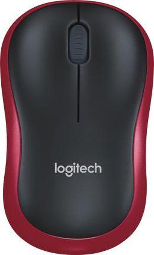 Logitech M185 - Draadloze Muis - Zwart met rode rand