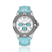 ZINZI Watch witte en turquoise plaat en turquoiseband UNO8