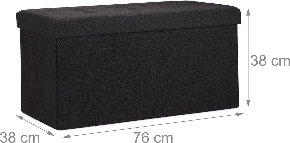 relaxdays opvouwbare zitbank - linnen - zitkist met opslagruimte - bank - 38 x 76 x 38 cm zwart - Relaxdays