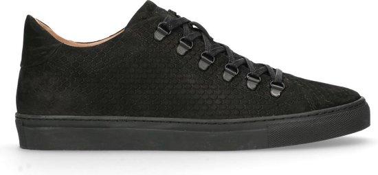 Manfield - Heren - Zwarte sneakers met snakeskin - Maat 42