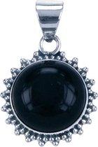 Zilveren Onyx rond met kartelrand ketting hanger