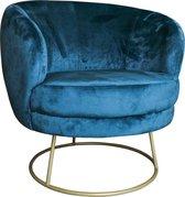 PTMD Xelena velvet blue fauteuil half round brass Iron