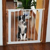 Paws and Claws - Hondenhek – Dog barrier - Hondendeur - Voor deuropening - B 74 tot 95 Cm, H75.7 Cm - Wit
