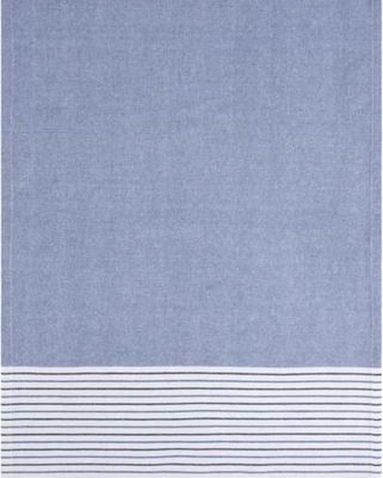 Clarysse Voordeel Theedoeken Timeless Effen/Streep Blauw 50x70cm 6 stuks