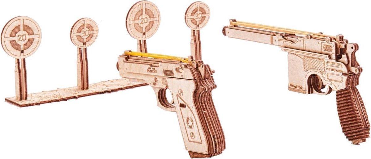Wood Trick Set van Wapens met Schietdoelen - Houten Modelbouw