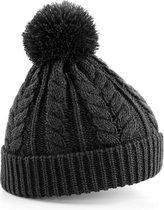 Beechfield Unisex Heavyweight Cable Knit Snowstar Winter Beanie Hat (Houtskool)