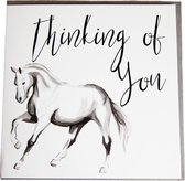Gubblecote Pony Thinking Of You-Groetings Card (Wit/zwart)