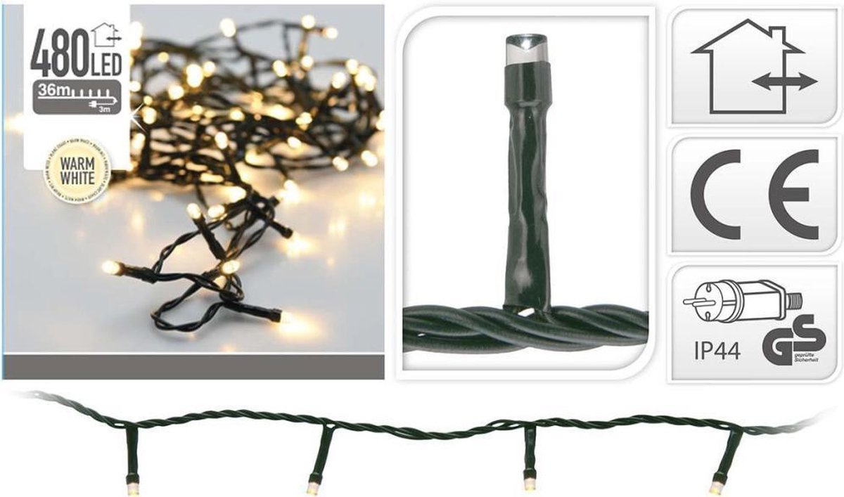 Kerstverlichting - 480 LED's - 36 meter - Warm Wit