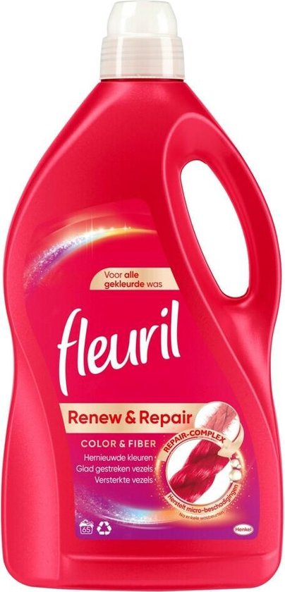 Fleuril Renew & Repair Color & Fiber Wasmiddel - Gekleurde Was - Voordeelverpakking - 65 wasbeurten
