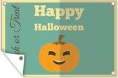 'Happy Halloween' met een pompoen tuinposter los doek 60x40 cm - klein - Tuindoek / Buitencanvas / Schilderijen voor buiten (tuin decoratie)