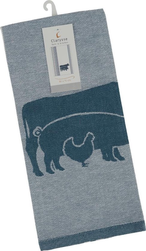 Clarysse Theedoeken Farm Animals 6 stuks-Blauw