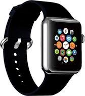 Shop4 - Apple Watch 6 44mm Bandje - Siliconen Zwart
