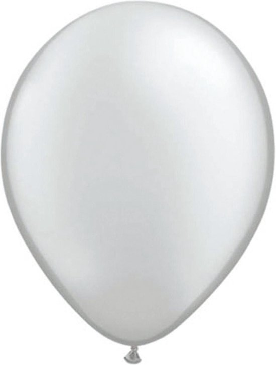 100x stuks Metallic zilveren ballonnen - Feestartikelen versiering