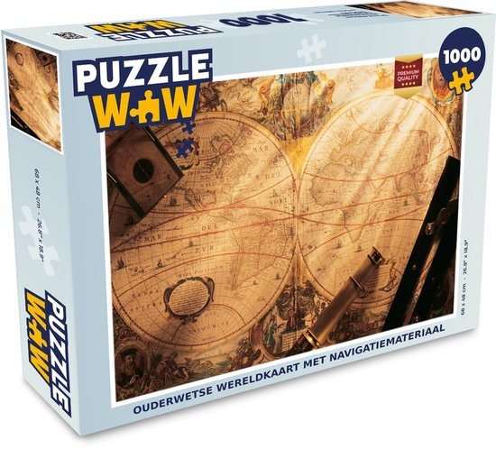 Puzzel 1000 stukjes volwassenen Ouderwets navigatiemateriaal 1000 stukjes - Ouderwetse wereldkaart met navigatiemateriaal  - PuzzleWow heeft +100000 puzzels