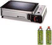 Kemper Smart grill Plancha - draagbare gas barbecue Tafelbarbecue Campingkooktoestel - incl. 2 gasflessen