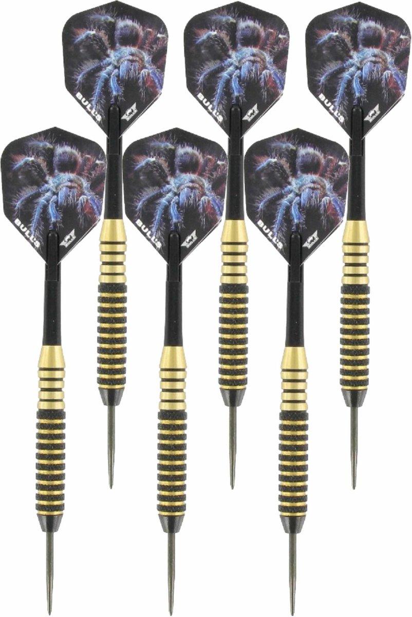 2x Set van 3 dartpijlen Tarantula Brass 22 grams - Darten/darts sport artikelen pijltjes messing