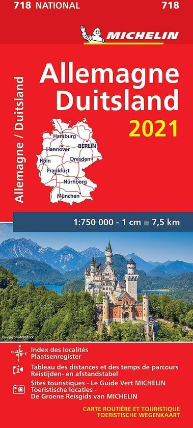 Boek cover Nationale kaarten Michelin  -   Michelin 718 Duitsland 2021 van  (Onbekend)