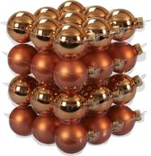 36x Goudsbloem oranje glazen kerstballen 4 cm - mat/glans - Kerstboomversiering goudsbloem oranje