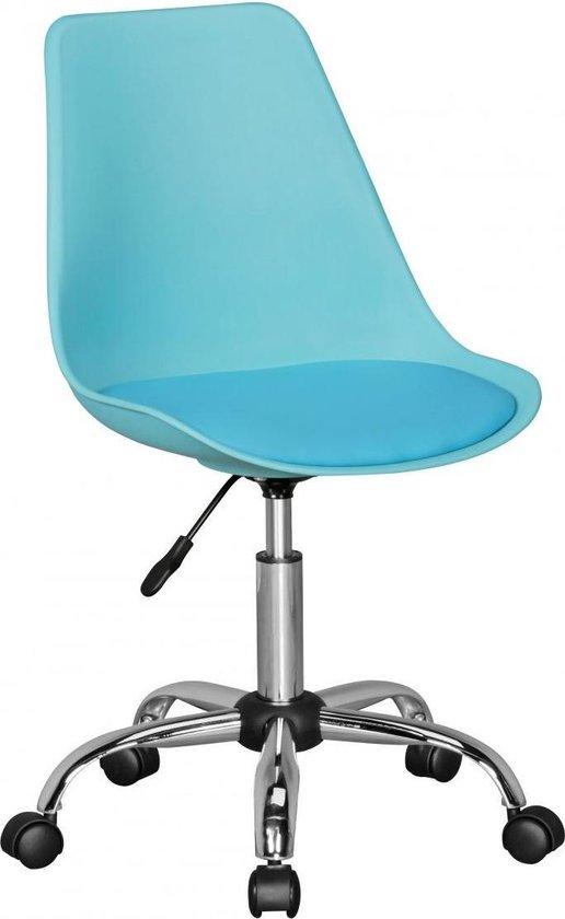 24Designs Bureaustoel Dex Office In Hoogte Verstelbare Blauwe Kuipstoel Inclusief Wielen