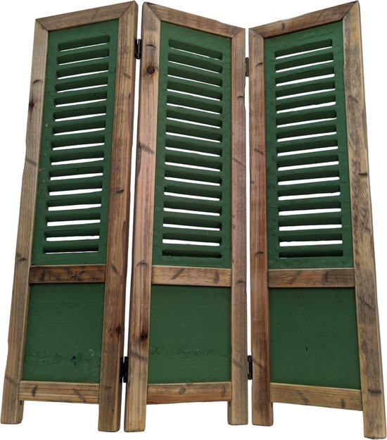 Raamscherm hout 70 cm landelijke shutter groen als raam scherm | GerichteKeuze