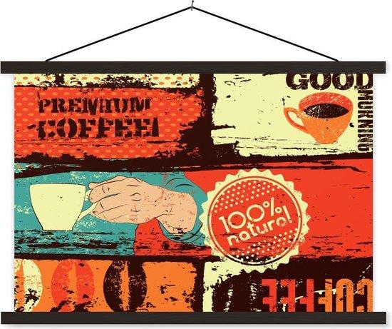 Vintage koffie kleurrijke illustraties 60x40 cm