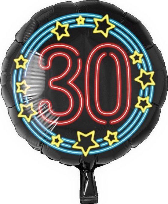 Helium Ballon 30 Jaar Neon 46cm leeg