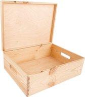 Creative Deco Grote houten kist, 40 x 30 x 14 cm