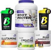 Protein Poeder - MEGADEAL 3 Pack: Whey Protein 2000g + Creatine 300g + Pre-Workout PUMP + Glutamine 300g Gratis Bulk Shaker -