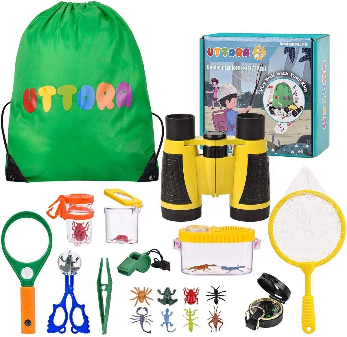 UTTORA® - Buitenspeelgoed set XL - Insectenkijker - Insectenpotje - Insecten speelgoed - 3 t/m 12 jaar - Camping speelgoed - Kinder kompas - Kinder verrekijker - Kinder vergrootglas - Kinder microscoop - XL Kinder insectenkijkerset 22-delig
