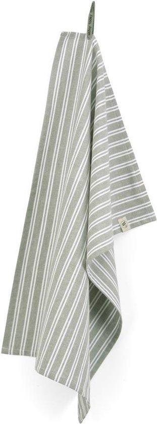 Walra Theedoek Dry with Stripes - 50x70 - 100% Katoen - Legergroen