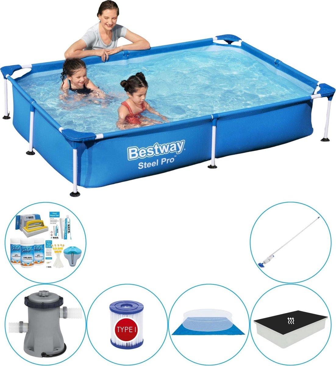 Bestway rechthoekig zwembad - duo set - inclusief passend afdekzeil - 220 x 150 x 43