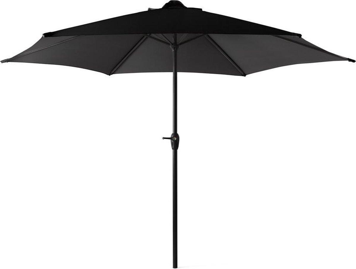909 OUTDOOR   Kantelende Parasol   Diameter 300 CM   Staal en Polyester   Zwarte buiten parasol   Me