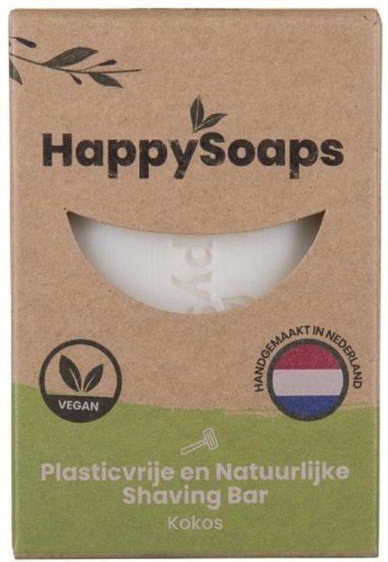 Happy Soaps -Natuurlijke - Scheerzeep - Kokos - Plasticvrij - Vegan - Dierproefvrij - 80 gram