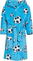 Playshoes - Fleece badjas met capuchon - Voetbal blauw - maat 134-140cm