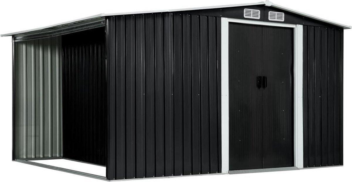 VidaXL Tuinschuur met schuifdeuren 329,5x205x178 cm staal antraciet VDXL_144020 online kopen