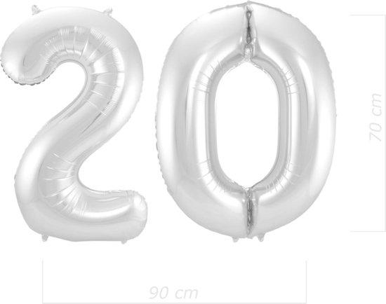 Ballon Cijfer 20 Jaar Zilver 70Cm Verjaardag Feestversiering Met Rietje