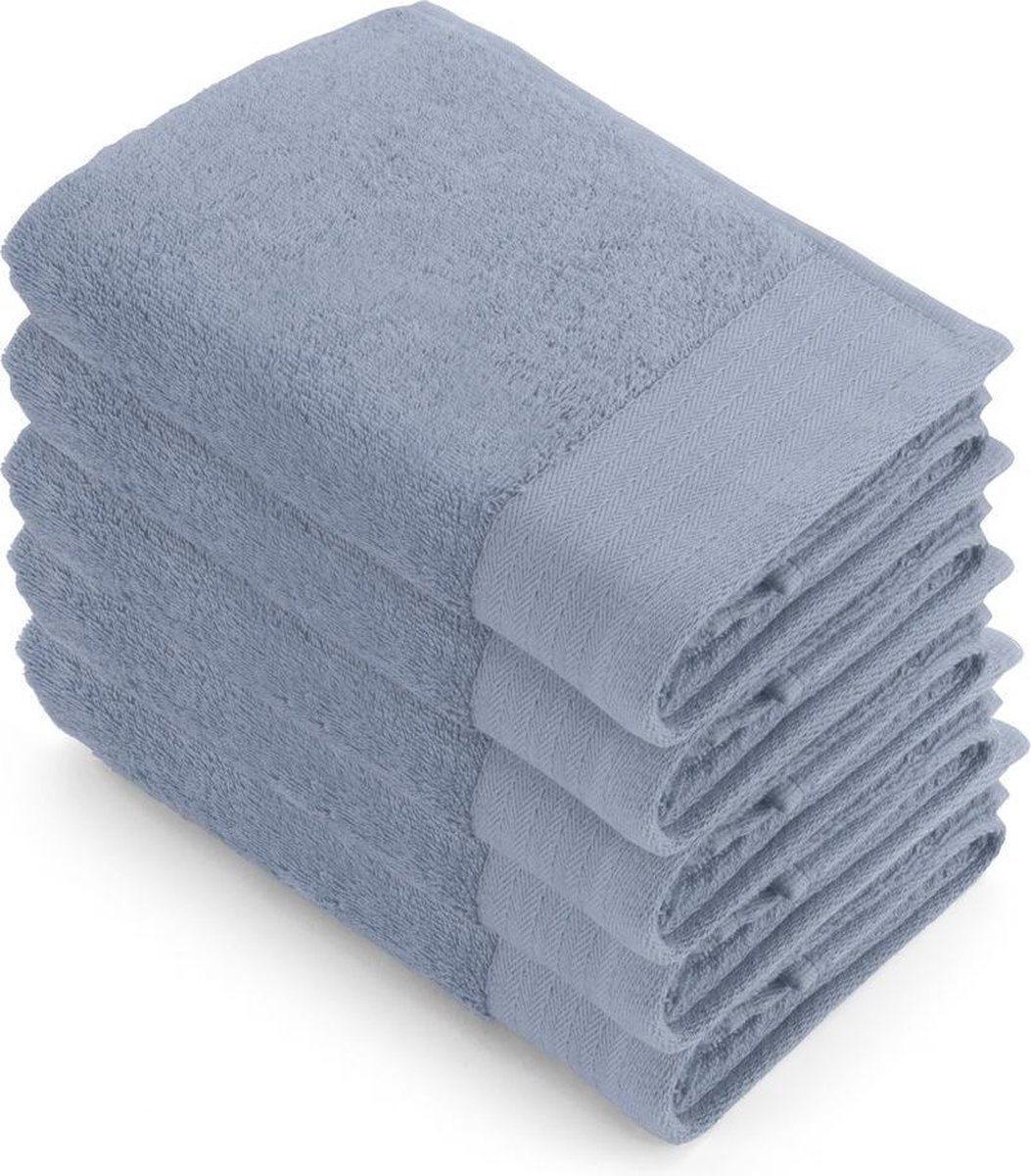 Walra Badgoedset - 5-delig - 5x 50x100 - 100% katoen - Blauw - Walra