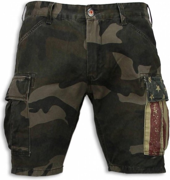 BB Bread & Buttons Korte Broeken Heren Slim Fit Camouflage Shorts Groen Maten: 28