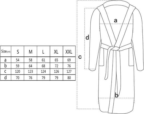 vidaXL 500 g/m² Badjas badstof zwart unisex (maat L) - vidaXL