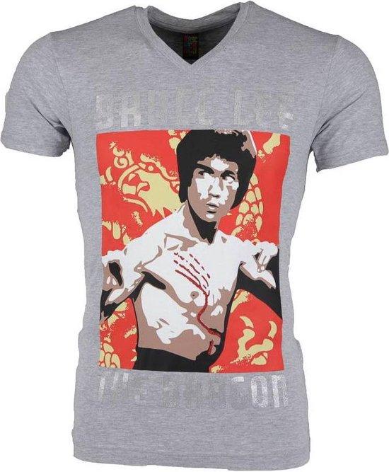 Local Fanatic T-shirt - Bruce Lee the Dragon - Grijs - Maat: XL