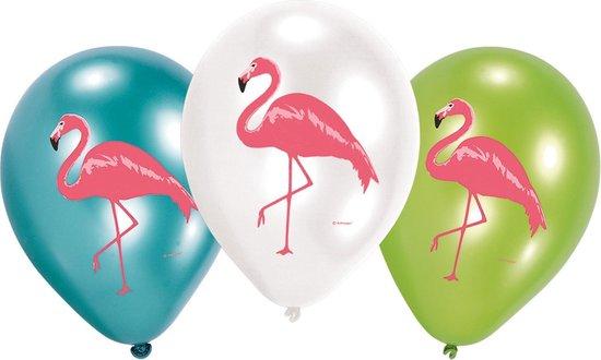 Ballonnen Flamingo Wit Blauw Groen- 6 stuks