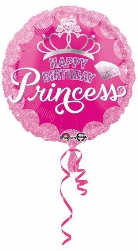 Helium Ballon Happy Birthday Princess Roze 43cm leeg