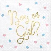 Gender Reveal Servetten Boy or Girl 33x33cm 20 stuks