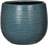 Mica Decorations gabriel ronde pot blauw maat in cm: 20 x 25