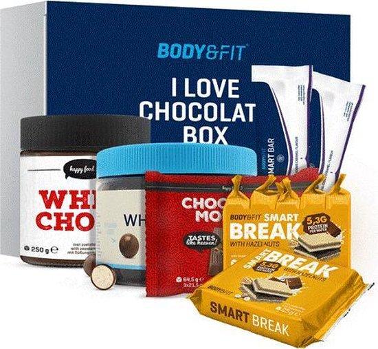 Body & Fit I Love Chocolate box - Verantwoord Chocolade Cadeau - Chocolade Geschenkset - 7 Verschillende Traktaties