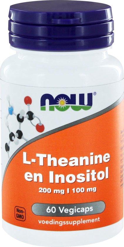 Now Foods - L-Theanine en Inositol - 200 mg L-theanine per Capsule - 60 Vegicaps